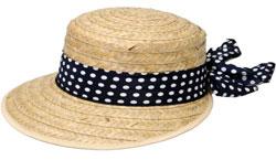 дамска шапка с асиметрична периферия и панделка на точки